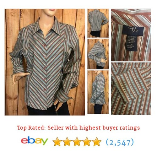 RAG Brown Blue Striped Blouse Long Sleeve Button Down Womens Size XL #ebay @aragy12  #etsy #PromoteEbay #PictureVideo @SharePicVideo