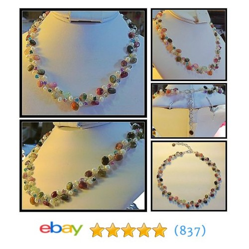 Tourmaline Gemstones and Cultured Pearl Necklace, Multi-Color with #ebay @artfrenchy  #etsy #PromoteEbay #PictureVideo @SharePicVideo