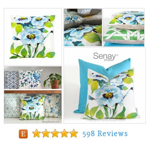 Watercolor Floral Cushion, Blue Floral #etsy @senaystudio  #etsy #PromoteEtsy #PictureVideo @SharePicVideo