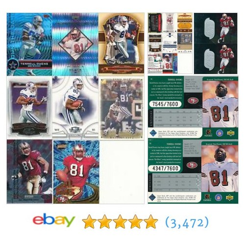 Terrell Owens Big lot of 8 football cards Plus bonus of 2 serially #ebay @perfectgame9  #etsy #PromoteEbay #PictureVideo @SharePicVideo