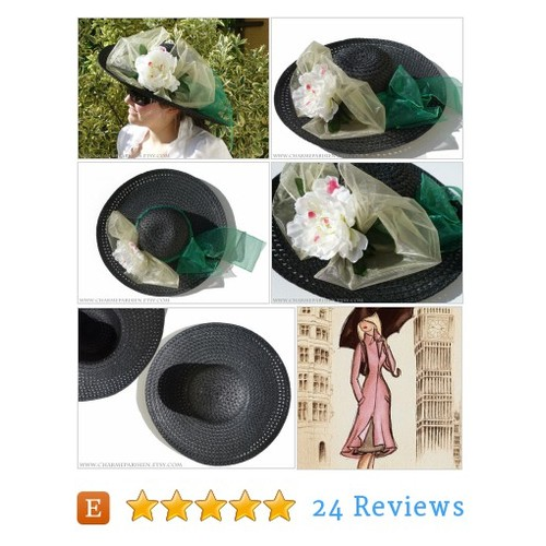 Black HAT with white peony white bow green #etsy @etsyan03  #etsy #PromoteEtsy #PictureVideo @SharePicVideo