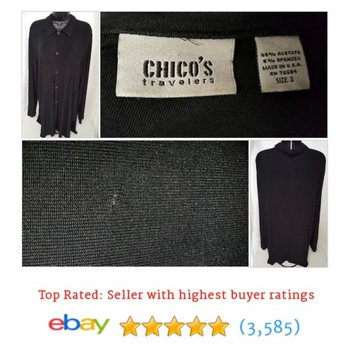 Chico's Travelers Woman's Black Button Down Shirt Size 3 | #ebay @jusporallc  #etsy #PromoteEbay #PictureVideo @SharePicVideo