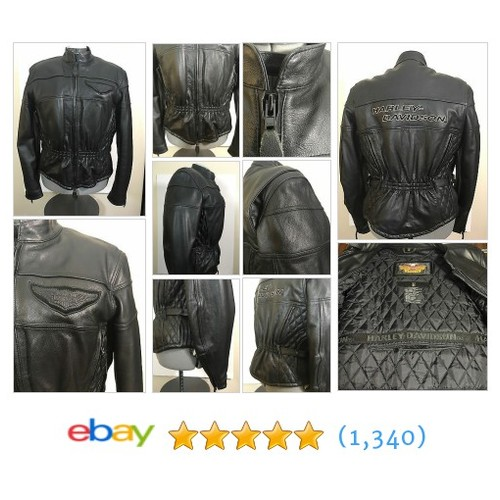 Women's Harley-Davidson Black Leather Jacket Heavy Zip In Lining Size L  | eBay #etsy #PromoteEbay #PictureVideo @SharePicVideo