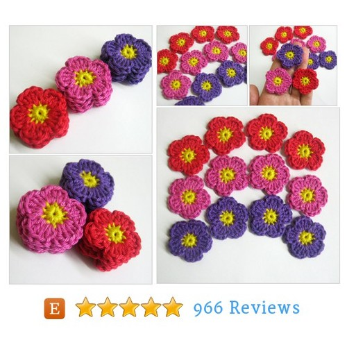 Handmade crocheted cotton flower appliques #etsy @kikamoracrafts  #etsy #PromoteEtsy #PictureVideo @SharePicVideo