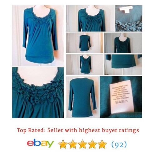 Coldwater Creek Blouse 3 Quarter Length Sleeve Size S Blue Smock Ruffle | eBay #Sweater #ScoopNeck #ColdwaterCreek #etsy #PromoteEbay #PictureVideo @SharePicVideo
