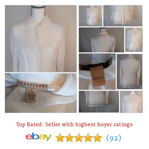 Apostrophe #Blouse Women's Size Small Button White Linen Blend Pockets BoHo Hippy | eBay #Top #Apostrophe #etsy #PromoteEbay #PictureVideo @SharePicVideo