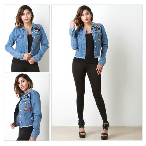 A Distress Patch Denim Jacket @FelixCulpa13 #shopify  #shopify #PromoteStore #PictureVideo @SharePicVideo