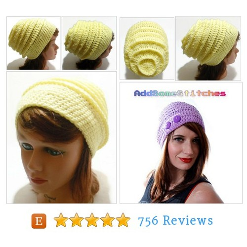 Beehive Hat, Yellow Slouchy Beanie, Yellow #etsy @addsomestitches  #etsy #PromoteEtsy #PictureVideo @SharePicVideo