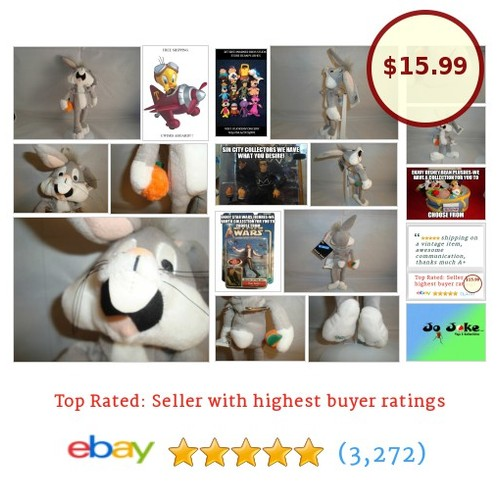 "WARNER BROS STUDIO STORE-BUG BUNNY-10""(12"")-BEAN PLUSH-HOLDING CARROT-NEW/TAGS 