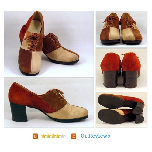Womens Vintage Suede Color Block Oxfords Chunky Heels 6 N #Shoe #Oxford #TieShoe #etsy #PromoteEtsy #PictureVideo @SharePicVideo