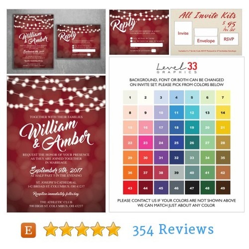 Red and White Lights Wedding Invitations #etsy @level33graphics  #etsy #PromoteEtsy #PictureVideo @SharePicVideo