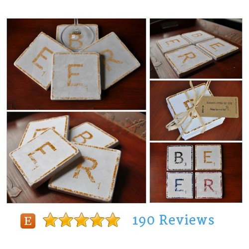 Tan Beer Coasters. Distressed Look. #etsy @squirrelink  #etsy #PromoteEtsy #PictureVideo @SharePicVideo