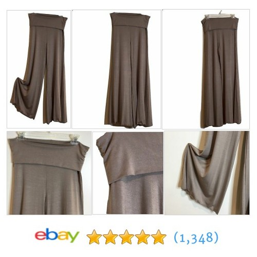 Lyss Loo Foldover Waist Palazzo Pants Flare Leg Taupe L  | eBay #etsy #PromoteEbay #PictureVideo @SharePicVideo