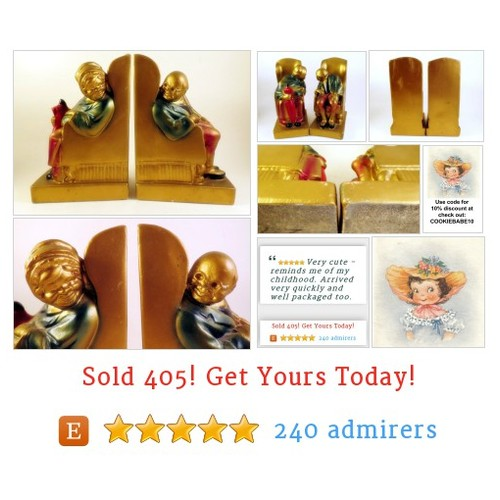 Armor Bronze Old Couple Man & Woman in Chair Looking at Each Other Bookends #Home #Living #Bookend #etsy #PromoteEtsy #PictureVideo @SharePicVideo
