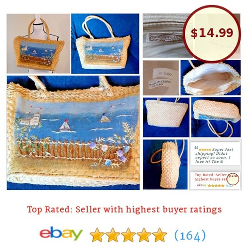 Cappelli Straworld #Tote Beach Yacht Boat Ocean Scene Fence Large Painted | eBay #Bag #Purse #etsy #PromoteEbay #PictureVideo @SharePicVideo