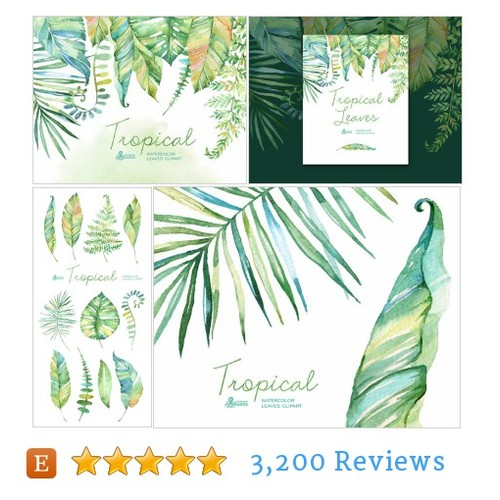 Tropical watercolor leaves. Handpainted #etsy @octopusartis  #etsy #PromoteEtsy #PictureVideo @SharePicVideo