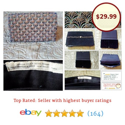 Jagat Narain #Clutch Embroidered Silver & Gold Vintage Black Velvet Zari Zardozi | eBay #Bag #Case #etsy #PromoteEbay #PictureVideo @SharePicVideo