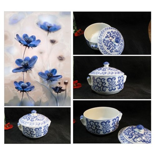 Blue And White Flow Blue Floral Porcelain Casserole With Lid, Kitchen Display, Table Centerpiece, Vintage 2 pc 1980s #etsyspecialt #integritytt #SpecialTGIF #Specialtoo  #SpecialTParty      @SGH_RTs  @OrbiTalRTs @RTFAMDNR #etsy #PromoteEtsy #PictureVideo @SharePicVideo