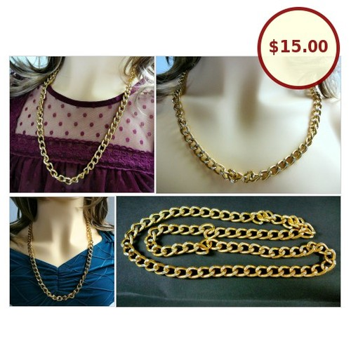 #Vintage GoldTone 26 inch #Chain #Necklace #HollowCuban #CurbLinks #UnisexJewelry #SylCameoJewelsStore #Jewelry #GiftIdeas #ShopSmall #etsyspecialt #IntegrityTT @etsyRT  #etsy #PromoteEtsy #PictureVideo @SharePicVideo