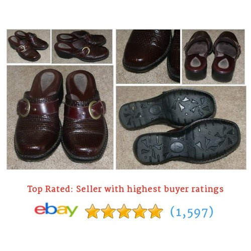 Clarks Artisan burgundy brown mule slip on shoes womens size 6.5M | #ebay @reclaimapparel  #etsy #PromoteEbay #PictureVideo @SharePicVideo