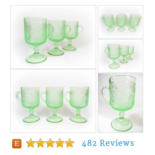 Vintage Green Irish Coffee Mugs, TIARA #etsy @theretroecho  #etsy #PromoteEtsy #PictureVideo @SharePicVideo