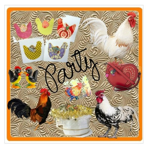 Let's Party Rooster Style #integrityTT #EtsySpecialT #artcollage #polyvorestyle #artcollage #artset #artexpression  #socialselling #PromoteStore #PictureVideo @SharePicVideo