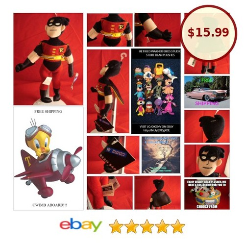 "WARNER BROS STUDIO STORE-ROBIN-BATMANS SIDEKICK-BEAN PLUSH-9""-NEW/TAGS-RETIRED 