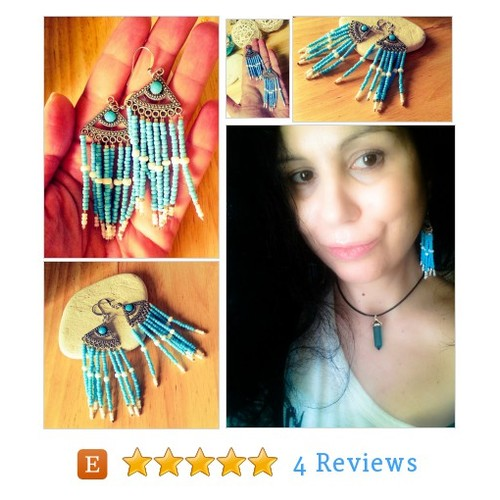 Boho Evil Eye Protection Fan Earrings, #etsy @theaxessorize  #etsy #PromoteEtsy #PictureVideo @SharePicVideo