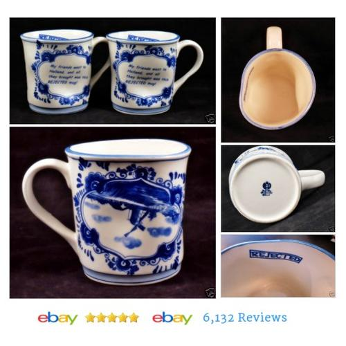 2 HOLLAND Reject MUGS Blue Onion White Humorous Weird Shape #Mug #Modern #etsy #PromoteEbay #PictureVideo @SharePicVideo