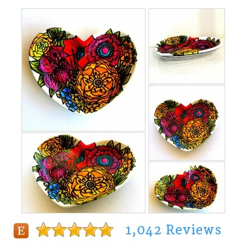 Ceramic Heart Flower Garden Poppies Plate #etsy @sewzinski  #etsy #PromoteEtsy #PictureVideo @SharePicVideo