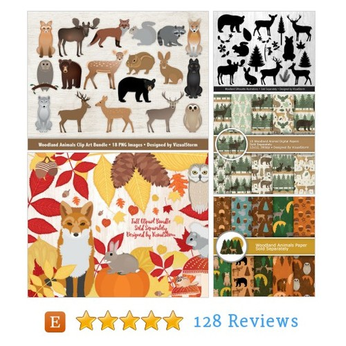 Woodland Animals Clipart Bundle, Forest #etsy @vizualstorm  #etsy #PromoteEtsy #PictureVideo @SharePicVideo