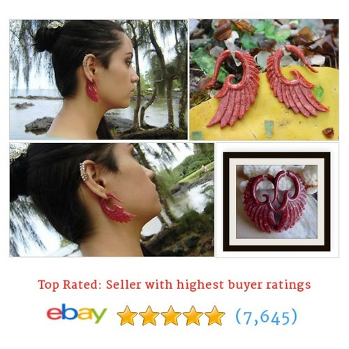Red Coral Angel Wings Fake Gauge Earring,Tribal Style,faux gauge #ebay @anelajade  #etsy #PromoteEbay #PictureVideo @SharePicVideo