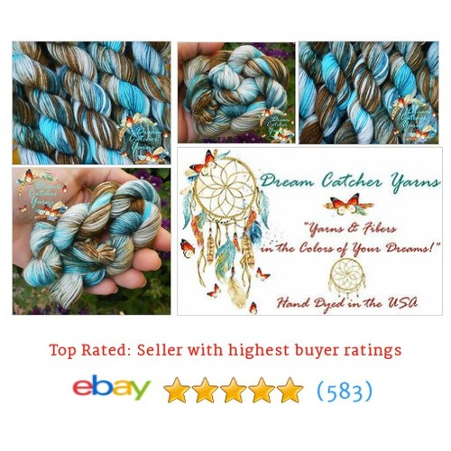 1 Mini Skein Yarn KINGMAN TURQUOISE Hand Dyed Superwash Merino Wool #ebay @dcyarns  #etsy #PromoteEbay #PictureVideo @SharePicVideo