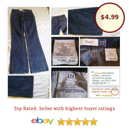 #GAPJeans Size 6 Blue Long Heavy weight #Flare 100% Cotton | eBay #Jean #etsy #PromoteEbay #PictureVideo @SharePicVideo