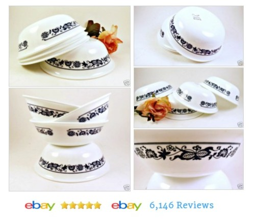 4 Old Town Cereal Soup Bowls #Corelle Blue Onion Coupe #CorningWare #KitchenGlassware #etsy #PromoteEbay #PictureVideo @SharePicVideo