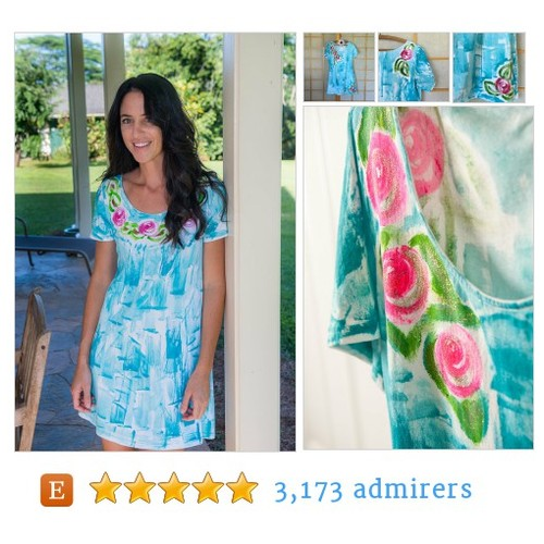 Hawaii Hand Painted Beach Dress roses #etsymntt #integritytt #etsyfashion @Retweet_Lobby @HyperRT @EarthRT @EtsyRT #etsy #PromoteEtsy #PictureVideo @SharePicVideo
