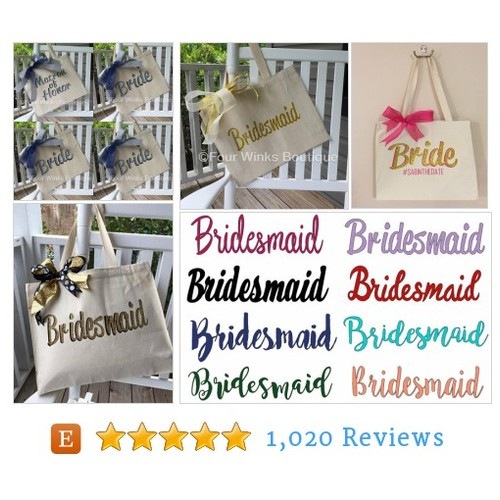 Bridesmaid Tote ~ Bride Tote ~ Personalized #etsy @four_winks  #etsy #PromoteEtsy #PictureVideo @SharePicVideo