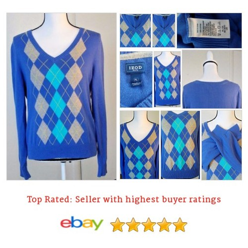 #IZOD Womens Size Large Argyle Pullover #Sweater Blue Gray Yellow V Neck MSRP $62 | eBay #VNeck #etsy #PromoteEbay #PictureVideo @SharePicVideo