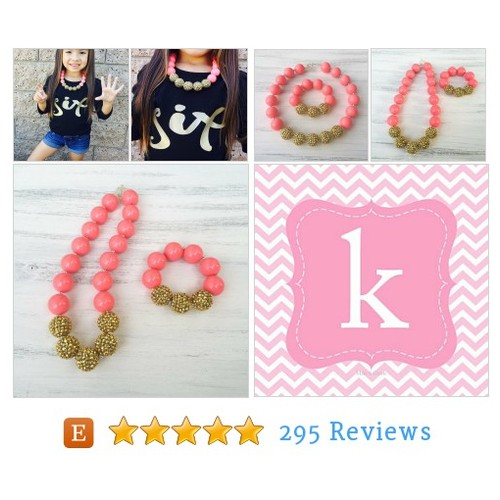 Gold and Coral Bubble Gum Necklace, Kids #etsy @kkbshopp  #etsy #PromoteEtsy #PictureVideo @SharePicVideo
