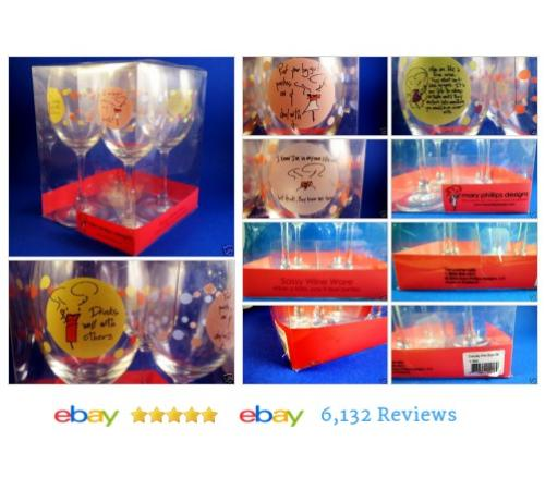 Mary Phillips Set of 4 Wine Glasses Sassy Wine Ware in Box New Unused #Cup #Mug #Glass #etsy #PromoteEbay #PictureVideo @SharePicVideo
