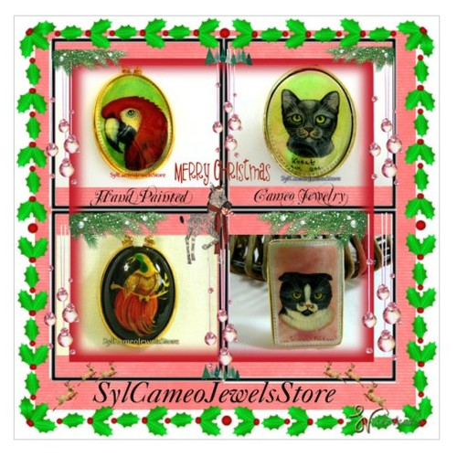 It's A Holly Jolly Merry #Christmas #integritytt #polyvore #handPaintedCameos #ArtJewelry #Holidaygifts #pendants  #socialselling #PromoteStore #PictureVideo @SharePicVideo