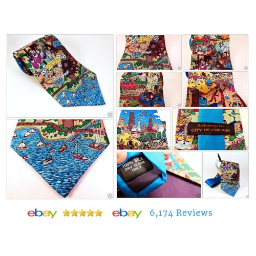 City of Chicago Map NECK TIE Lakefront Entertainment Basketball Sears #Chicago #Necktie #etsy #PromoteEbay #PictureVideo @SharePicVideo