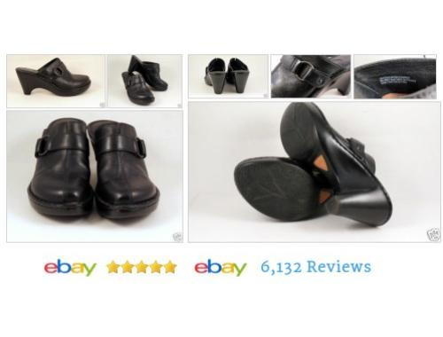 "BORN Womens   #Size8 Black Leather Mules Slides Platform 3.5"" heel Shoes #Born  #Sandal #etsy #PromoteEbay #PictureVideo @SharePicVideo"