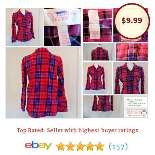 Victoria's Secret Shirt Flannel Pink Purple Black Red Button Down Size M Medium eBay #Top #Blouse #WomensClothing #etsy #PromoteEbay #PictureVideo @SharePicVideo