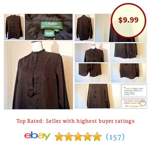 LAUREN RALPH LAUREN Size 12 Black 100% Linen Women's #Blouse Henley Steampunk | eBay #Top #WomensClothing #etsy #PromoteEbay #PictureVideo @SharePicVideo