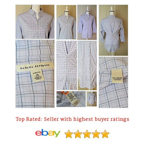 Banana Republic Women's Shirt Button Size 14 Blue & Gray Plaid Checked Cinched | eBay #Top #Blouse #BananaRepublic #etsy #PromoteEbay #PictureVideo @SharePicVideo
