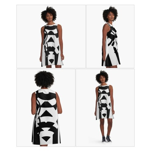 'Black White Pattern Aztec Zig Zag Pattern ' A-Line Dress by Amy Anderson #socialselling #PromoteStore #PictureVideo @SharePicVideo
