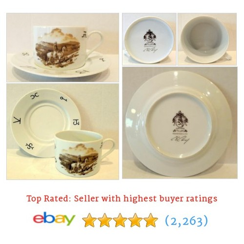 Corey Point Rider White Cup and Saucer Hand Decorated Made in USA | #ebay @blingblinkyoftx  #etsy #PromoteEbay #PictureVideo @SharePicVideo