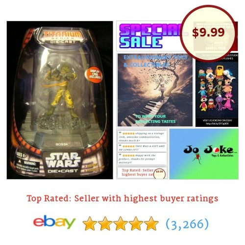 CLOSEOUT!!-STAR WARS -TITANIUM SERIES-DIE-CAST-BOSSK-BOUNTY HUNTER-DISPLAY CASE- | eBay #Hasbro #etsy #PromoteEbay #PictureVideo @SharePicVideo