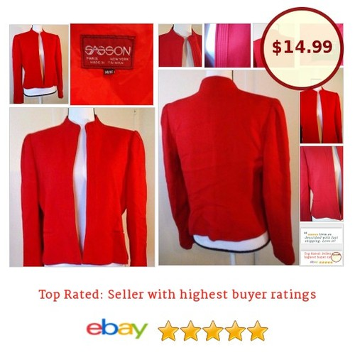#SassonParisNewYork #vintage #powersuit #Red Size 14 Large Lined #fashion #fashionista #Suit #Blazer #etsy #PromoteEbay #PictureVideo @SharePicVideo